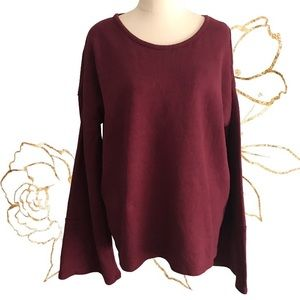 SEED HERITAGE Size L Cotton Sweater Flared Sleeves